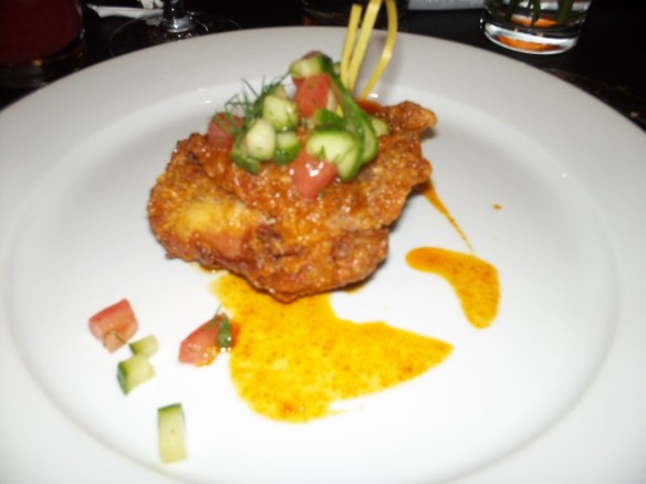Hot Chicken Bite With Tomato and Cucumber