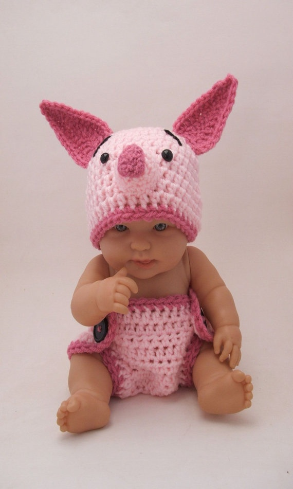 Pink Piglet Crocheted Baby Outfit