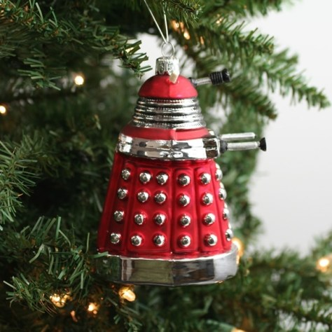 Red Dalek Doctor Who Ornament on Tree
