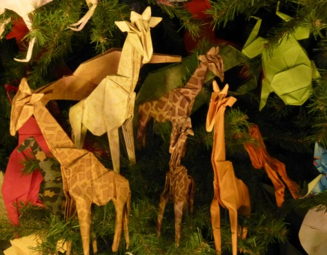 Origami Giraffes and Green Frog