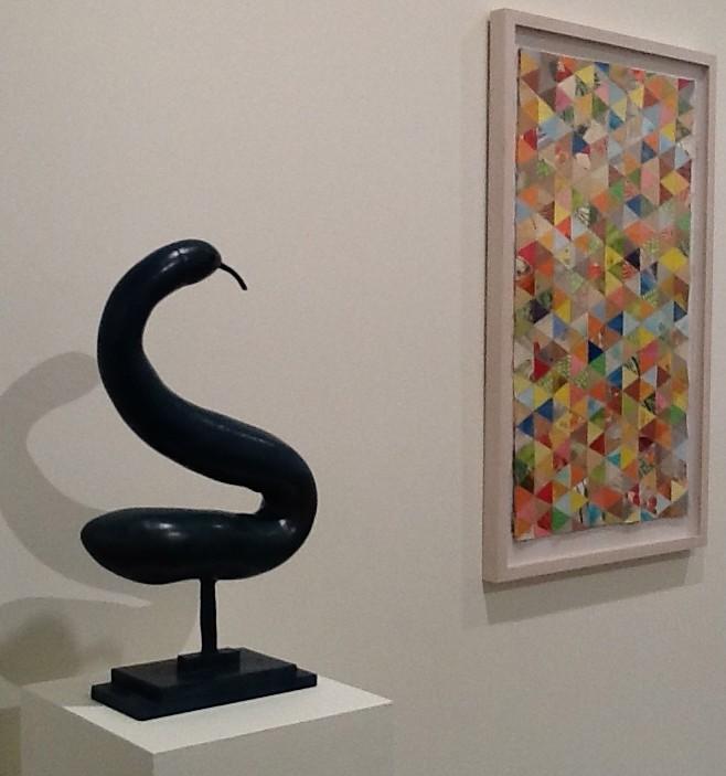 Thomas Campbell Snake Bronze Sculpture and Medium Quilt