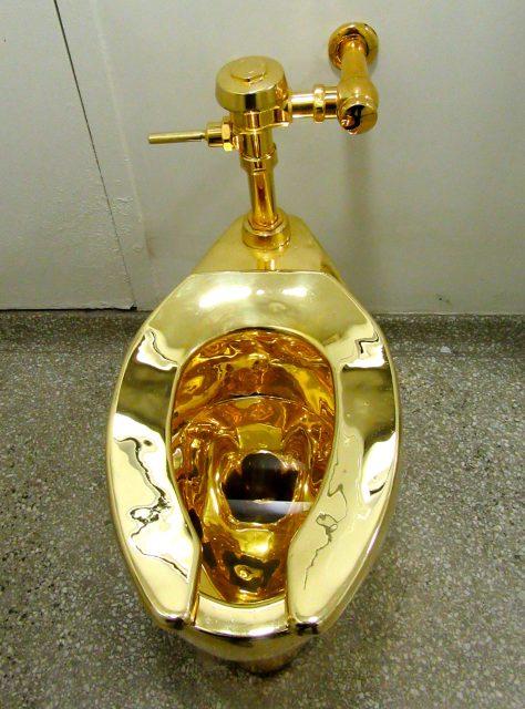 Golden Toilet Overhead View