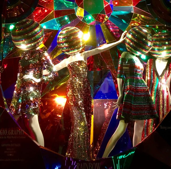 Disco Ball Headed Mannequin Window Shot