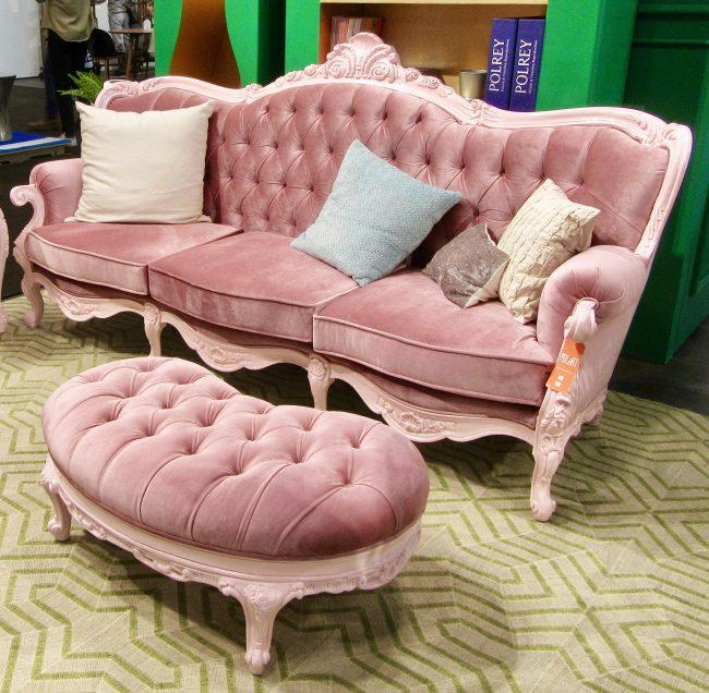 Polart Pink Ottoman and Sofa