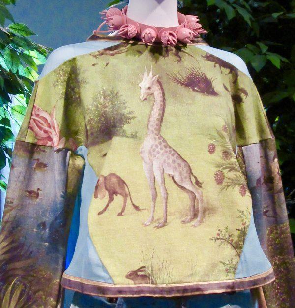 Giraffe Print Blouse Detail