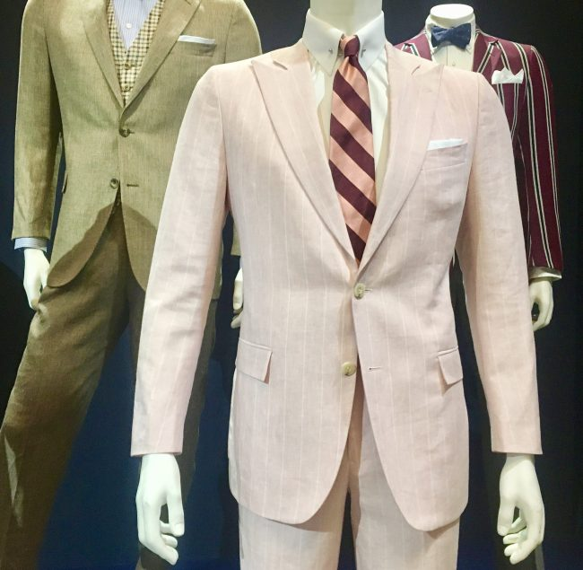 Gatsby Pink Linen Suit Detail