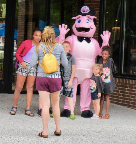 Bubba Gump Shrimp Mascot with Fans