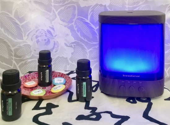 aromatherapy diffuser blue and oils photo by gail worley