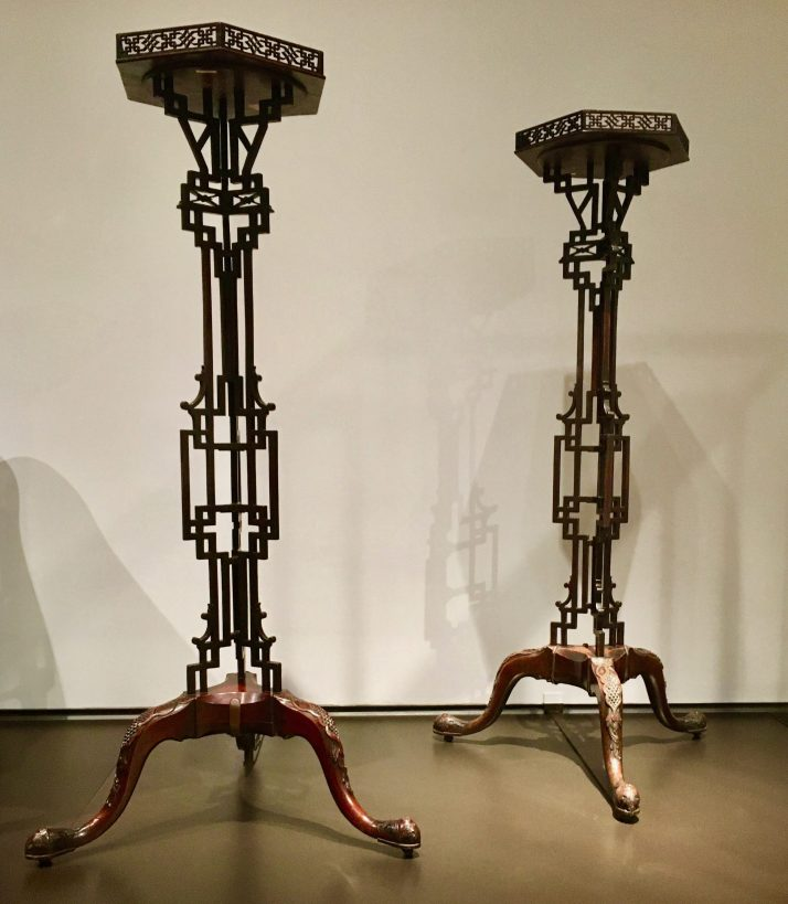 pair of fretted candle stands photo by gail worley
