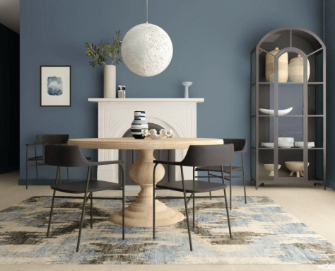 casual modern dining room in blue
