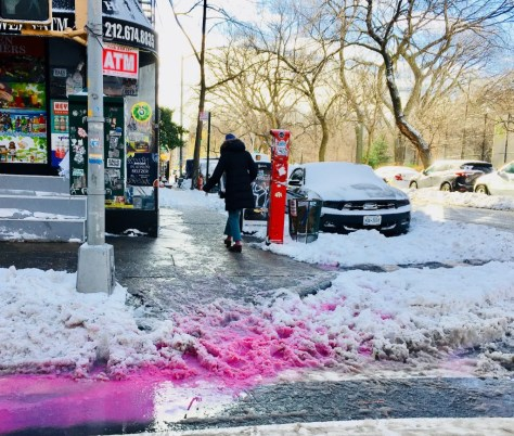 pink snow on ave b photo by gail worley
