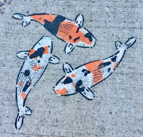 sidewalk koi stencil art photo by gail worley