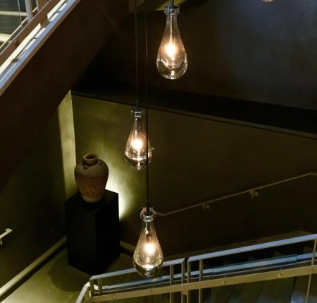 3 bulbs in staircase photo by gail worley
