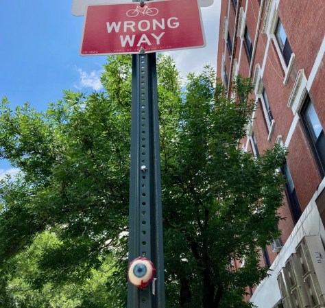 eyeball with wrong way sign photo by gail worley