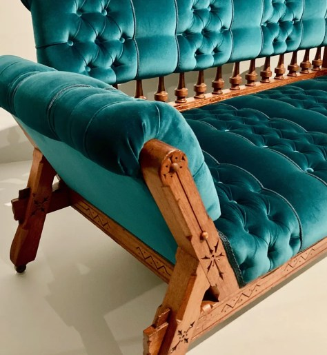 turquoise gothic sofa by kimbel and cabus photo by gail worley