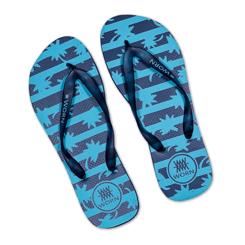 Navy Blue Palm Leaf Rubber Flip Flops Mens