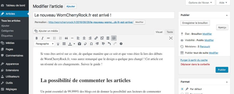 Extrait de l'interface du CMS WordPress