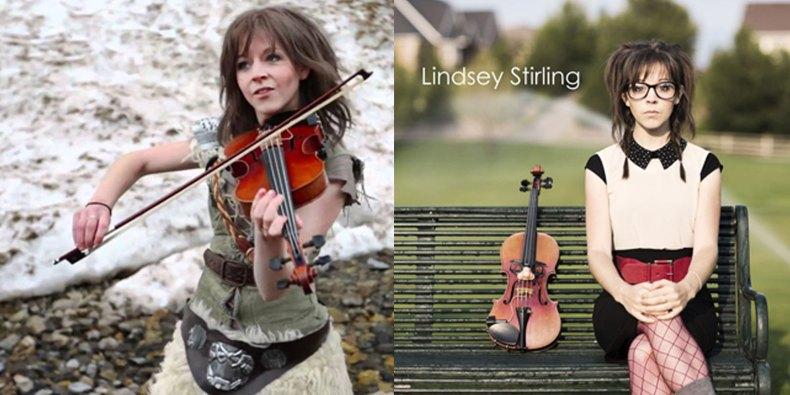 Lindsey Stirling dans un de ces clips et la pochette de son premier album