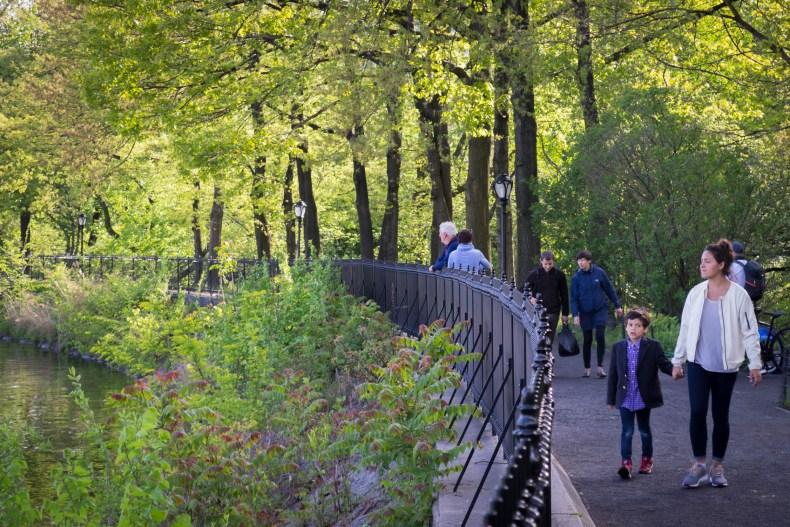 Les gens se promènent à Central Park dès que le Soleil est de sortie