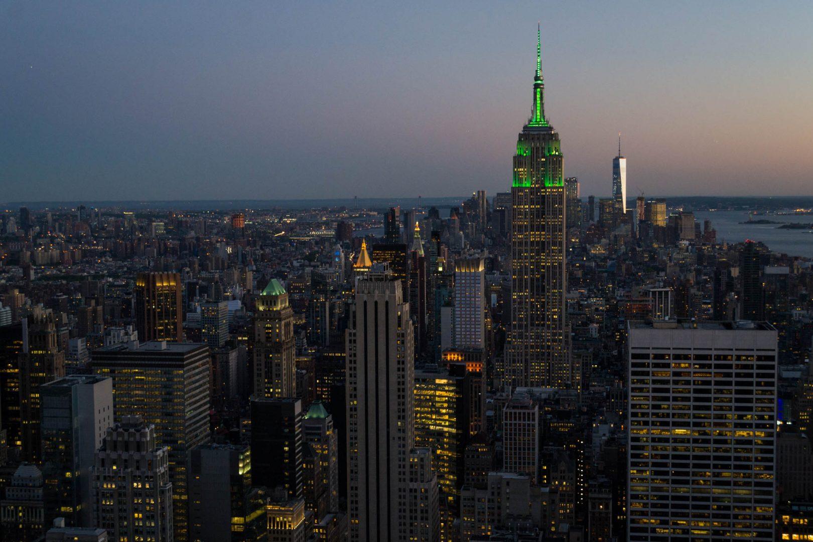 Le Sud de Manhattan depuis le Rockefeller Center au crépuscule