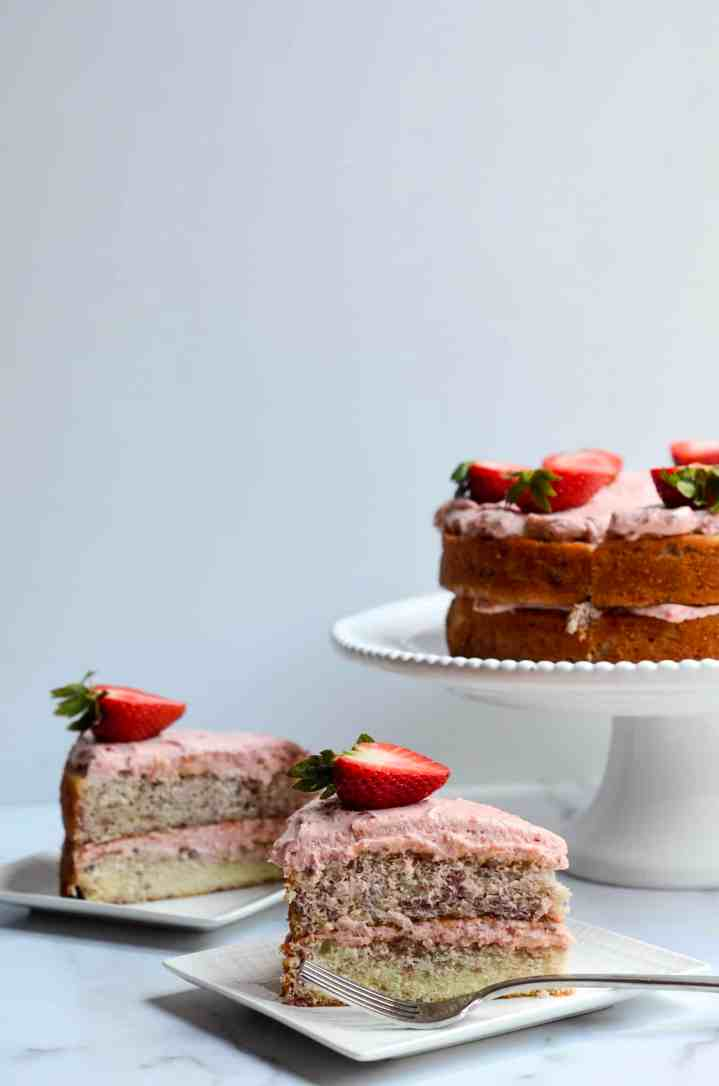 two slices of strawberry cake