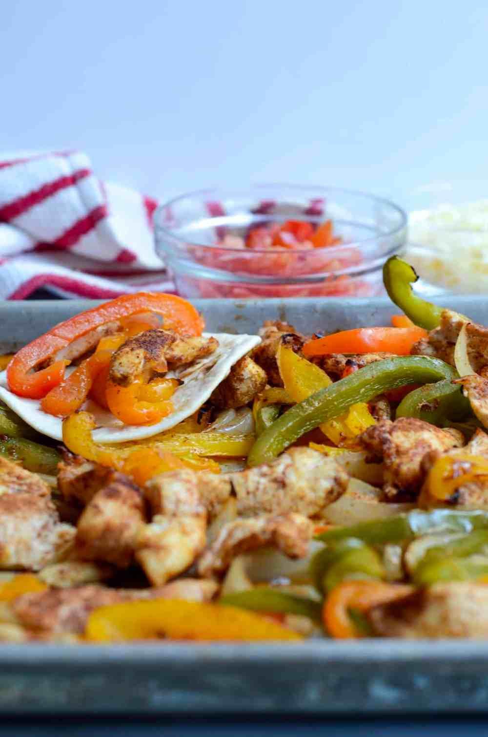 sheet pan chicken fajitas up close and personal