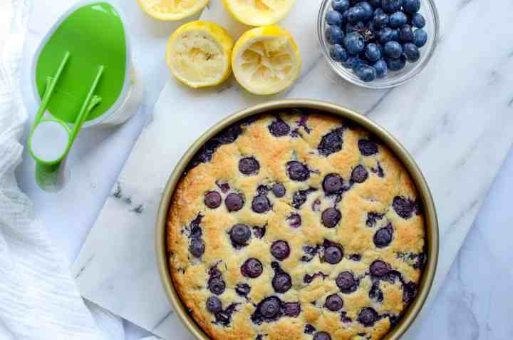 blueberry breakfast cake with lemon drizzle