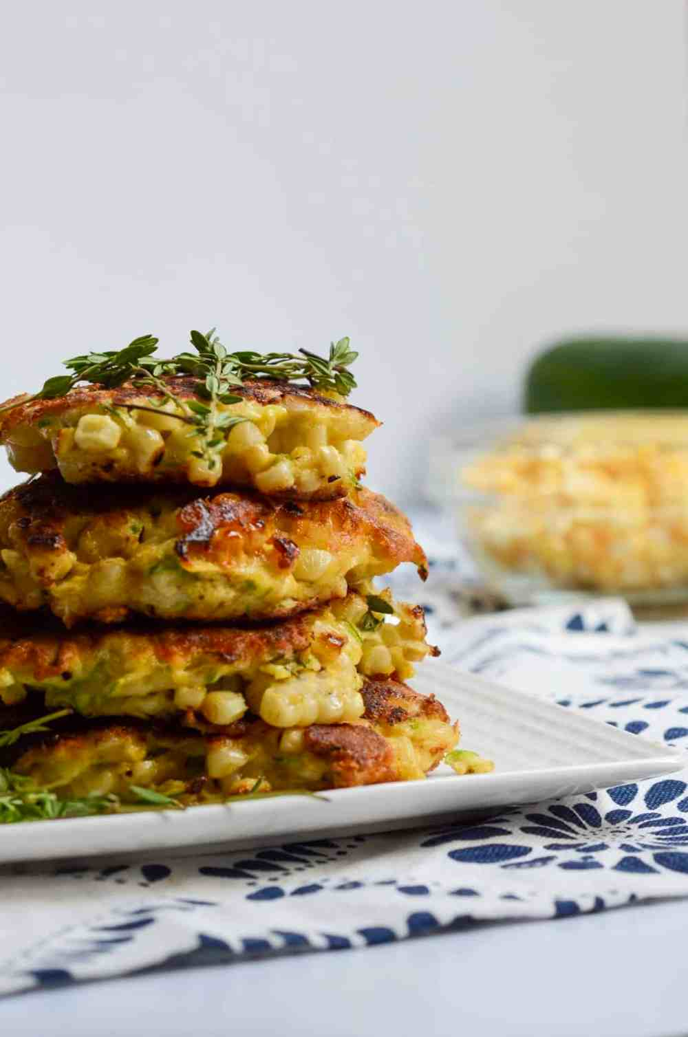 up close and personal with corn and zucchini fritters