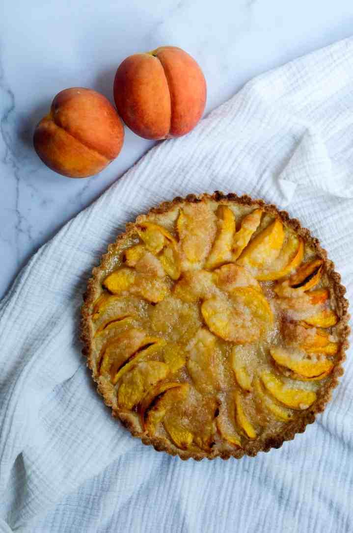 peach tart on table