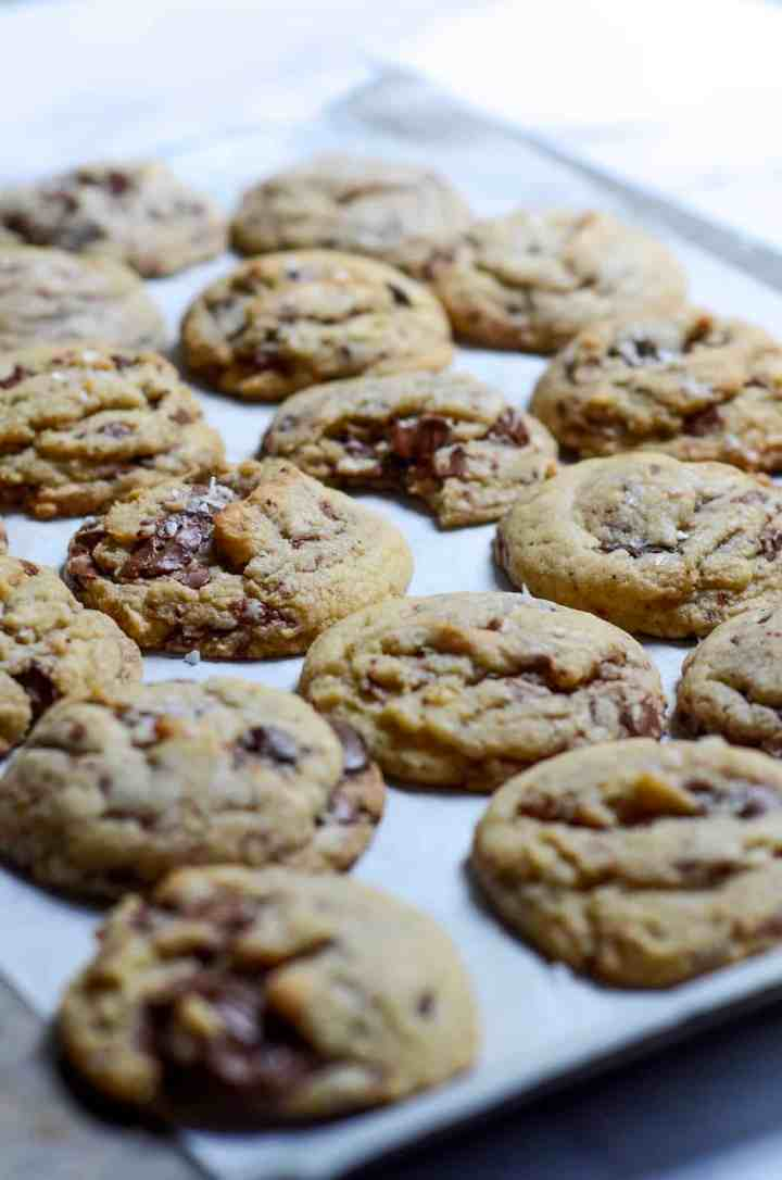 sea salt on top of chocolate chip cookies