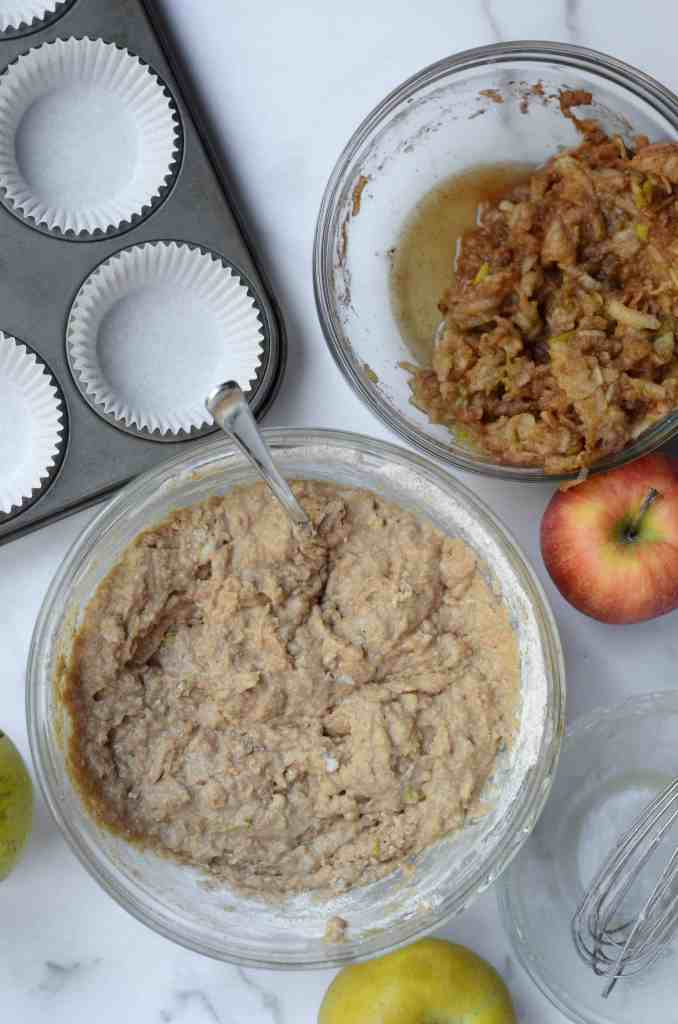 once the wet ingredients mix with the dry ingredients, gently fold in the apples and cinnamon