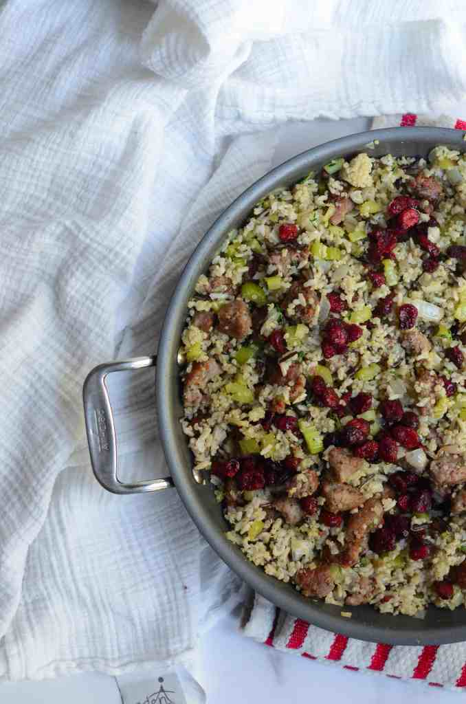 sausage and cranberry stuffing to fill the acorn squash