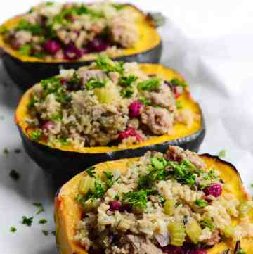 stuffed acorn squash is perfect to make in advance
