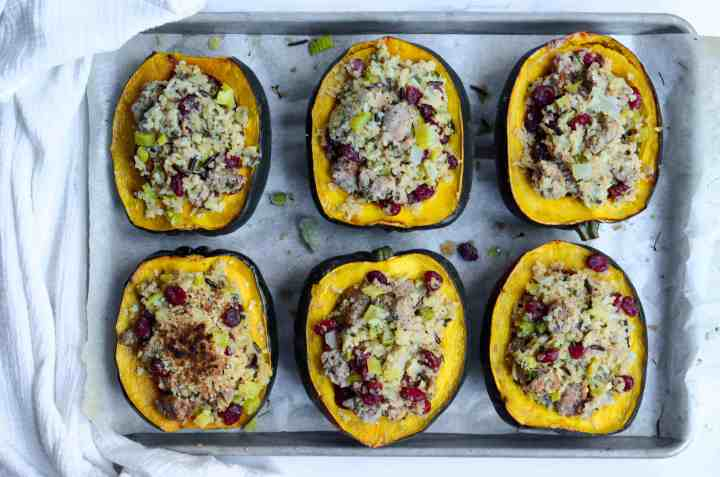 top the stuffed acorn squash with parsley for a nice bit of greenery before eating.