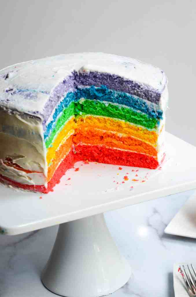 three slices cut from rainbow cake exposing colorful layers on inside