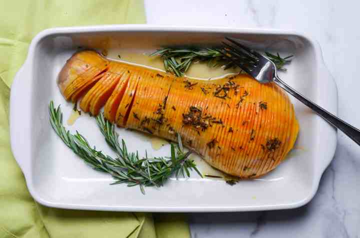 the end product - hasselback butter squash roasted with rosemary and honey glaze