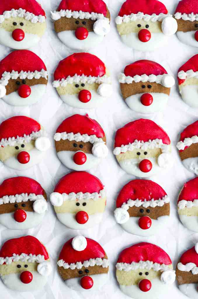 santa sugar cookies are so adorable and can be made easily.