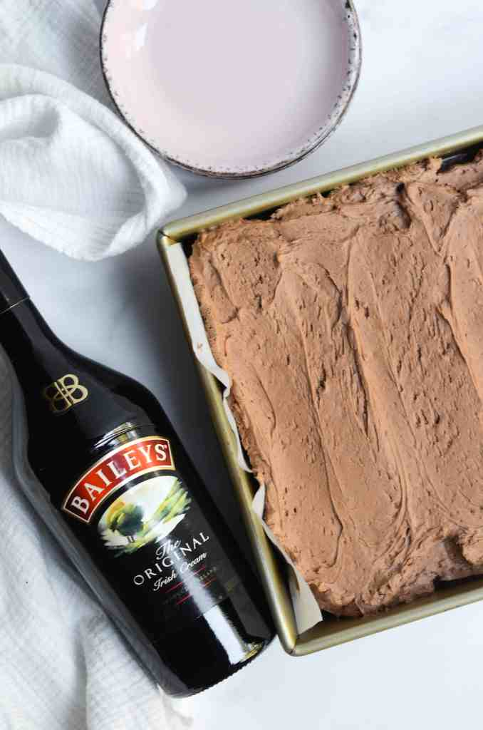 baileys is the special ingredient in this cake and in the frosting.