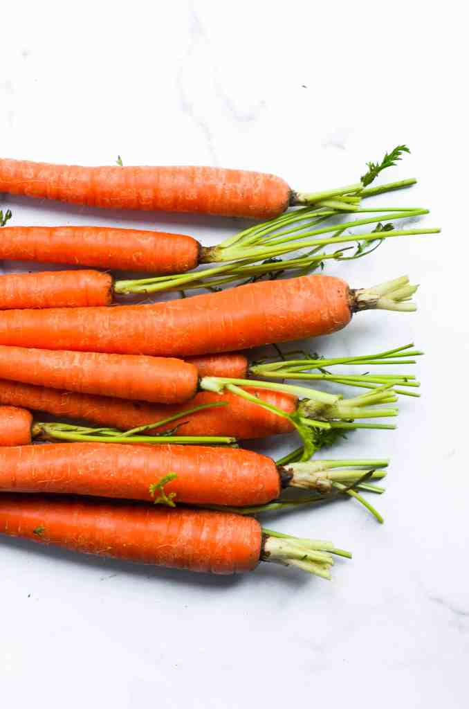 aerial view of a bushel of carrots