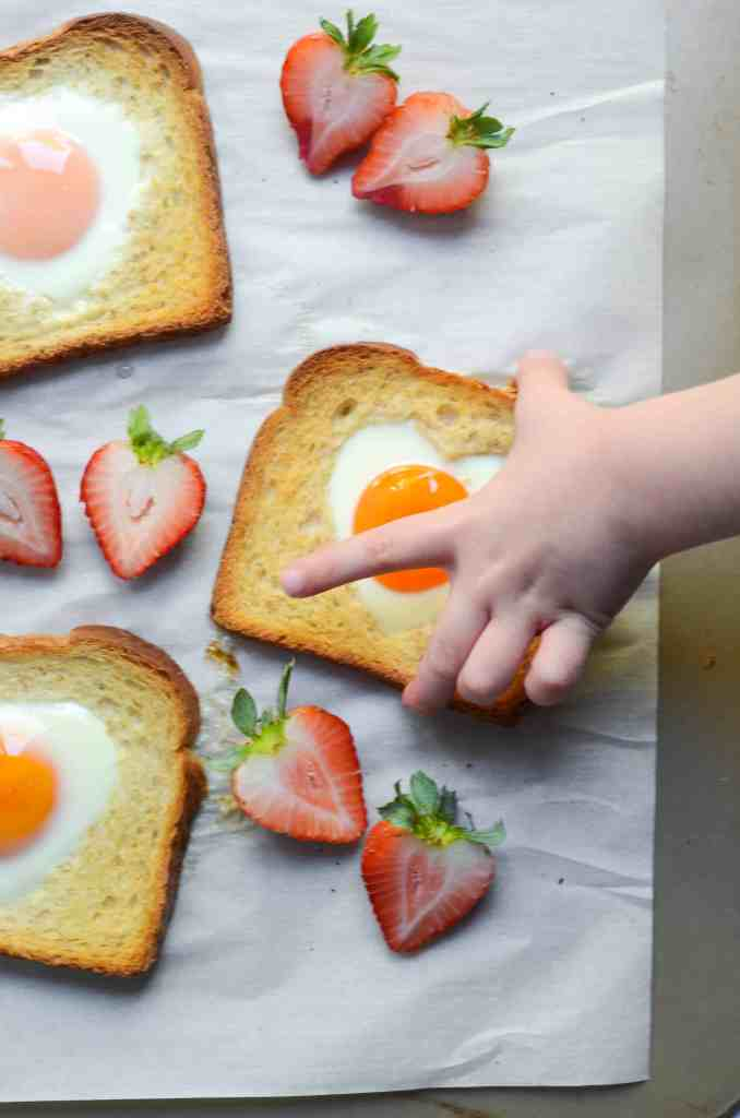 these valentine's egg in a hole toasts are the simplest, most delicious breakfast or brunch to make.