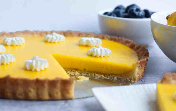 side view of meyer lemon curd tart