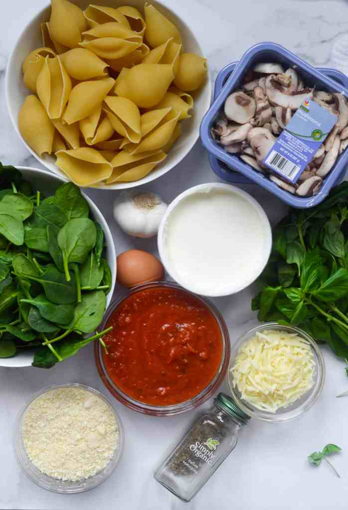 all ingredients used to make stuffed shells.