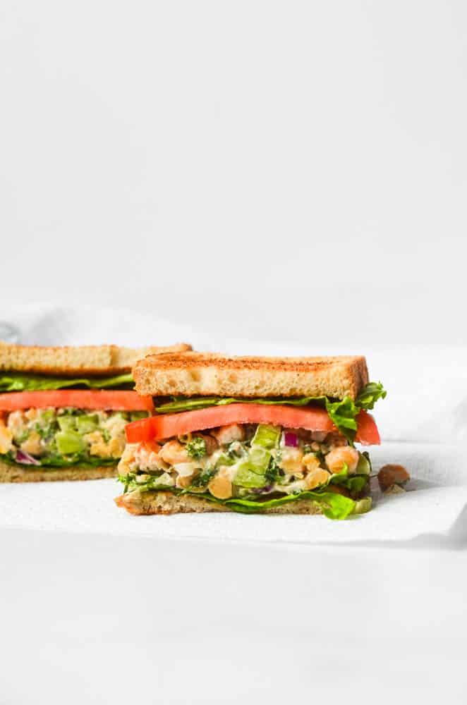 side view of sandwich on a napkin
