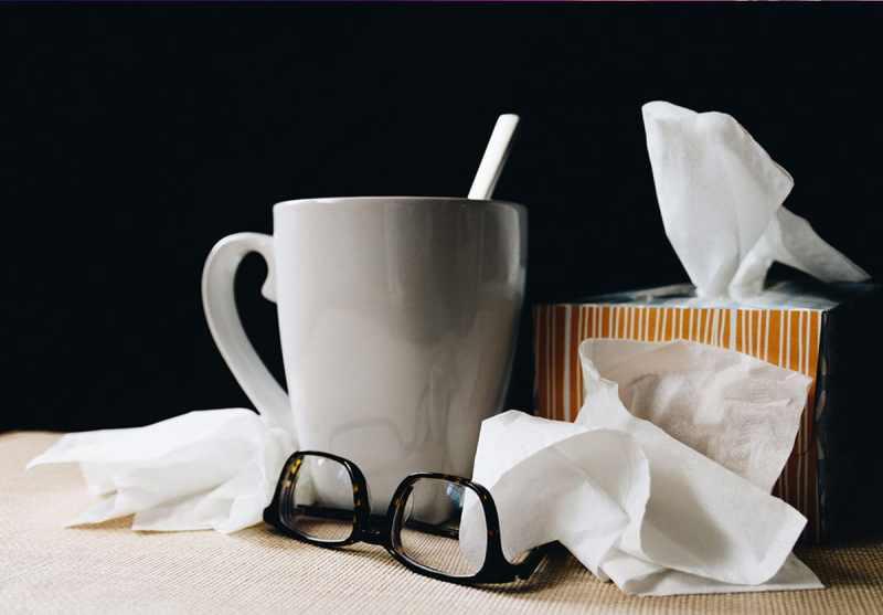 mug, tissues, glasses