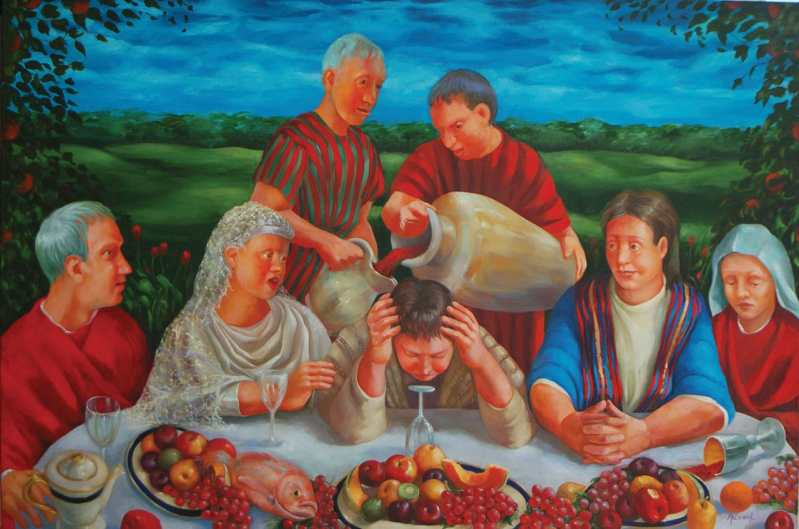 """Rosemarie Adcock - """"The Wedding at Cana"""" This oil painting on canvas depicts the account of the first recorded miracle of Jesus when he turned water into wine. See more at rosemarieadcock.com 