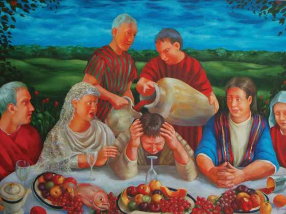 """Rosemarie Adcock - """"The Wedding at Cana"""" This oil painting on canvas depicts the account of the first recorded miracle of Jesus when he turned water into wine. See more at rosemarieadcock.com   © 2018 Chapel Galleries"""