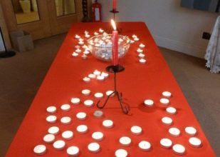 Prayer candle table,, London UK -- Ana Gobledale