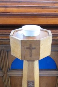 baptismal font, St Andrew's United Reformed Church, Brockley, London; photo by Ana Gobledale