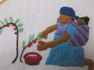 African Harvest, stitchery by Ana Gobledale