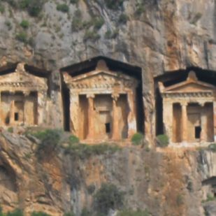 tombs on the cliffside, Turkey -- by Ana Gobledale